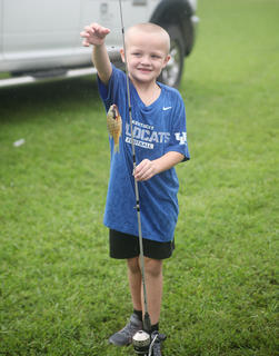 Tristian Harris, 7, of Campbellsville, is proud of his fish.
