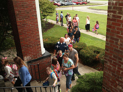 Parents and students were lined up to get inside Taylor County Elementary for the first day of school on Wednesday.