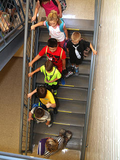 Campbellsville Elementary School students make their way through the halls to their classrooms on the first day of school Wednesday.