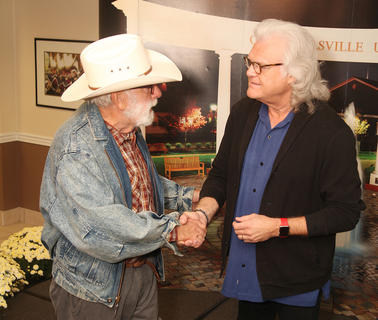 Ricky Skaggs talked with guests at a special meet-and-greet event prior to his Thursday night concert on the campus of Campbellsville University, including Campbellsville resident Dan Flanagan.