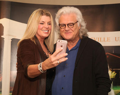 Beverly Noe poses for a selfie with Ricky Skaggs during the meet-and-greet prior to his concert at Campbellsville University Thursday. The concert was a fundraising event for the university, and it brought more than $25,000, which will go toward the university's scholarship fund.