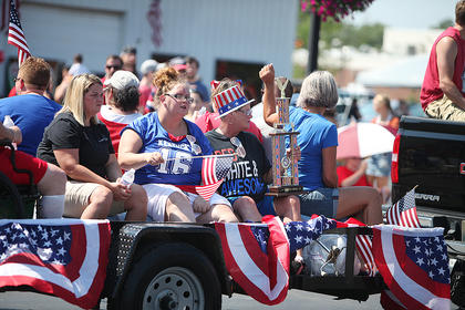 Patriotic floats like this one make up much of the annual Fourth of July parade in Campbellsville.