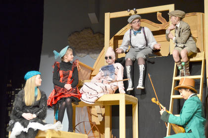 From left, Jane Palagi plays Spider, Shelby Hayden is Ladybird, Nicholas McCann portrays Earthworm, Alexis Hayden plays Centipede, Ally Howard is James and Andy O'Daniel is Grasshopper.