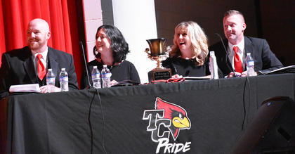 The judges for Dancing with the Cards were, from left, Grant Litton, Lindsey McPherson, Dana Rogers, and Chad Shively.