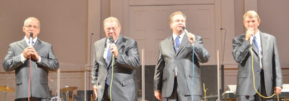 The Noblemen, based in Shelbyville, performs southern gospel music on Sunday. From left are members Kenny Roberts, Garry Polston, Tracy Bertram and David Martin.
