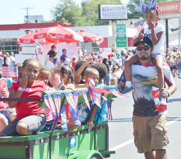 Children dressed the part in the Fourth of July parade on Friday morning.