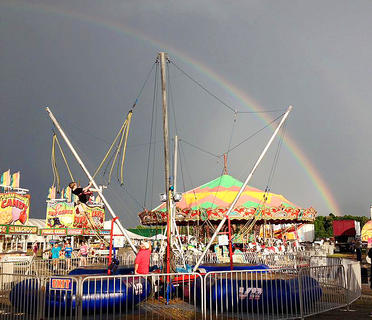 Following some Saturday morning rain, a rainbow could be seen above the Taylor County Fair.
