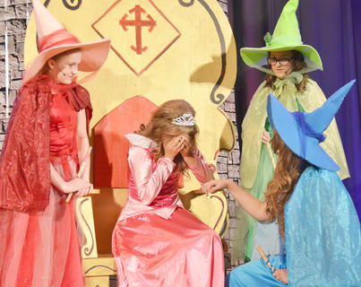 """Several children in Taylor County can add acting to their resume, thanks to Campbellsville Youth Theatre. The company presented its first production, Disney's """"Sleeping Beauty Kids,"""" on Aug. 7, 8 and 9, at CU. Above, Callie Botkin portrays Sleeping Beauty, who is upset that her """"aunts,"""" from left, Fauna, played by Natalie Reynolds, Flora, played by Hailey Morris, and Merryweather, played by Emma Humphress, who are fairies, didn't tell her she is a princess."""