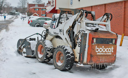 A Campbellsville University-owned tractor sits unused off of Underwood Street on Thursday afternoon.