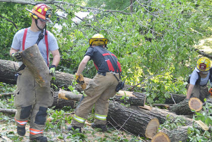 Campbellsville Fire & Rescue personnel spent several hours Thursday morning working to remove several trees that blocked the entrance to the Forest Hills Subdivision. From left are Captain Chris Taylor, volunteer firefighter Cody Wood and firefighter Alex Johnson.