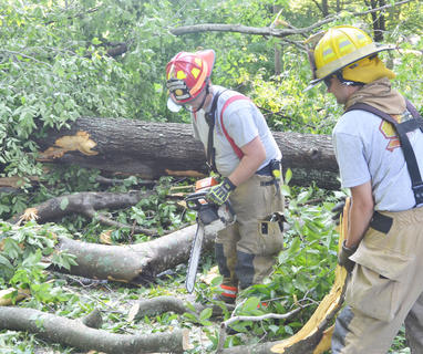 Campbellsville Fire & Rescue Captain Chris Taylor, at left, and firefighter Alex Johnson work to remove several trees that blocked the entrance to the Forest Hills Subdivision.
