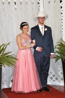 TCHS students Chanse Jernigan and Heather Sabo smile for their official prom photo.
