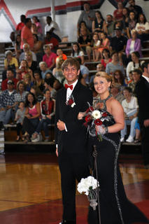 Chandler Smith and Shelby Harden stop for a picture on the TCHS prom runway.