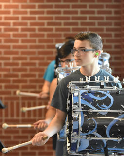 Dylan Canada keeps the beat with the rest of his TCHS drumline members.