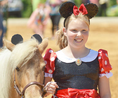 Breanna Sharp of Campbellsville dresses in the costumer class at the fair's youth horse show on Saturday.